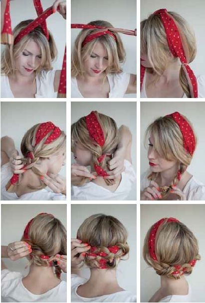 16 Beautiful Hairstyles with Scarf and Bandanna | Scarf hairstyles .