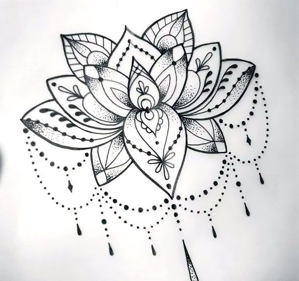 Cool Dotwork Lotus Tattoo Design | Lotus blossom tattoos, Lotus .