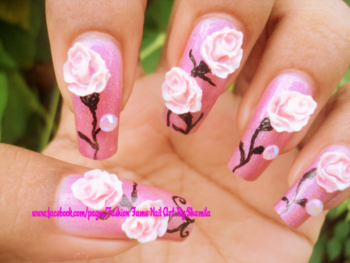 Real looking rose nail art design - Nail Art Design From CoolNailsA