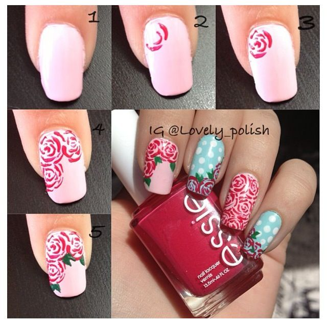 Rose nail art tutorial | Rose nail art, Rose nails, Nail art tutori