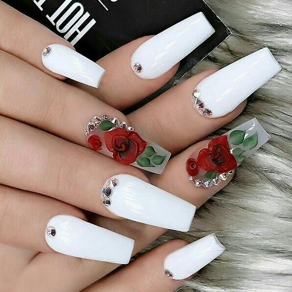 90+Unique and Beautiful Nail Art Designs | White acrylic nails .