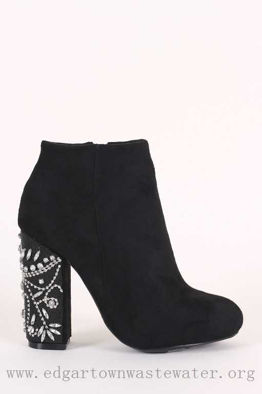 Black Suede) 100% Best Selling Bamboo Suede Rhinestone Chunky .