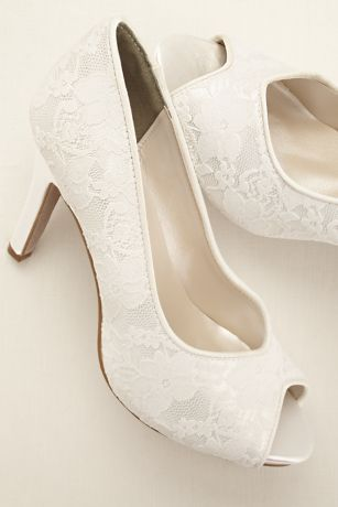 FOR THE VINTAGE BRIDE: Lace Peep Toe Pump at David's Bridal .