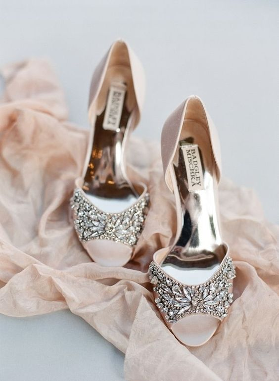 Picture Of blush peep toe wedding shoes with a heavily embellished .