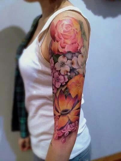 10 Best Flower Tattoos for Your Arms | Flower tattoos, Half sleeve .