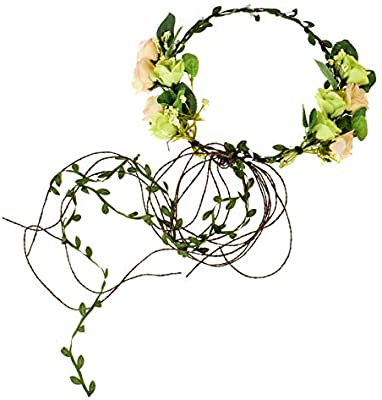 Floral Fall Adjustable Bridal Flower Garland Headband Flower Crown .
