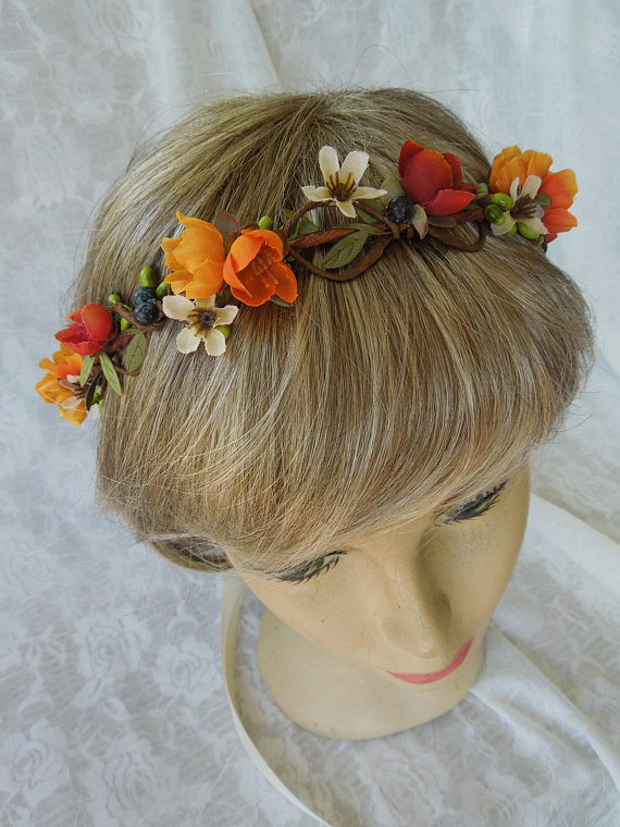 Fall colors flower crown,autumn brides wreath,gold and orange .