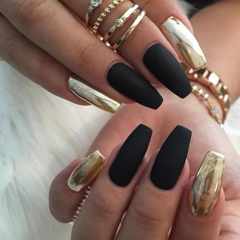 The Best French Black and Gold Nails Designs | Metallic nails .