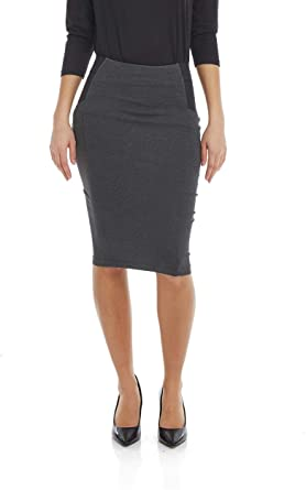 ESTEEZ Women's Pencil Skirt - Ponte Knit - Knee Length - Slimming .