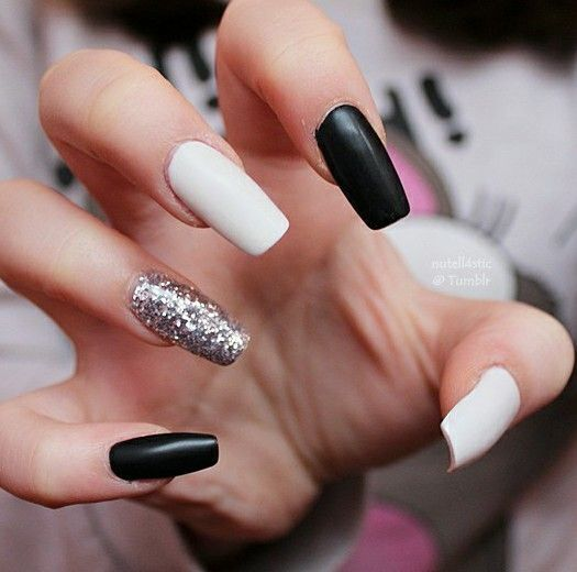 Matte black & white with silver glitter | White acrylic nails .