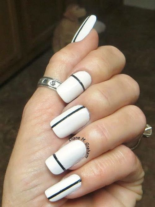 39+ Black And White Simple Nail Designs - Nails P