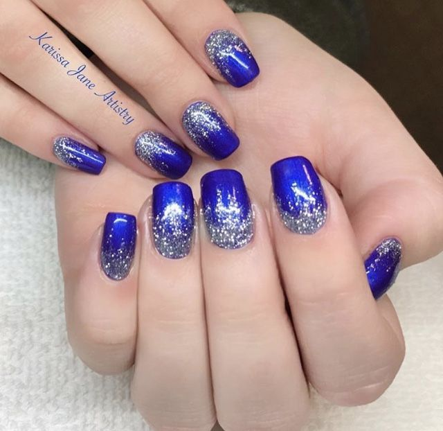 Blue and silver gel nails | Blue and silver nails, Blue nail .