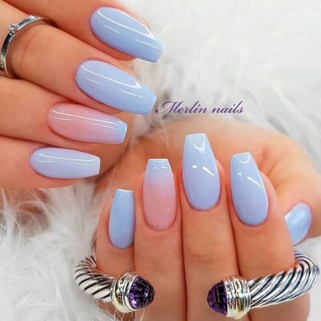 12 Ombré Nude to blue nail art designs - Hair and Beauty eye .