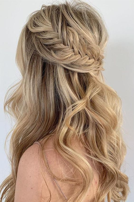 28 Captivating Half Up Half Down Wedding Hairstyles---loose long .