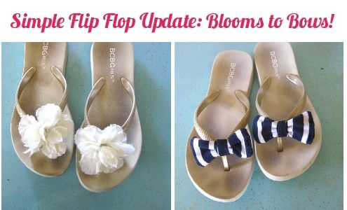Simple Flip Flop Update: Blooms to Bows | Cheap flip flops, Cute .