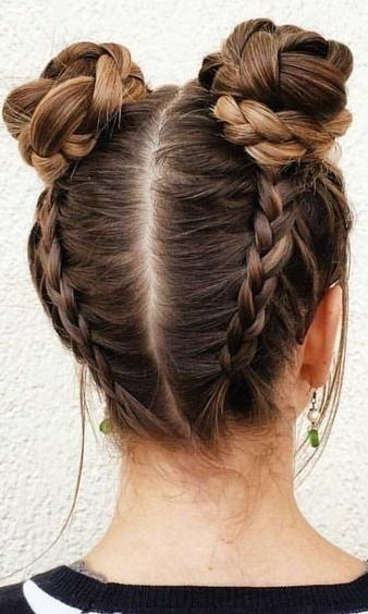 Wraparound Braided Buns | Cool hairstyles for girls, Pretty .