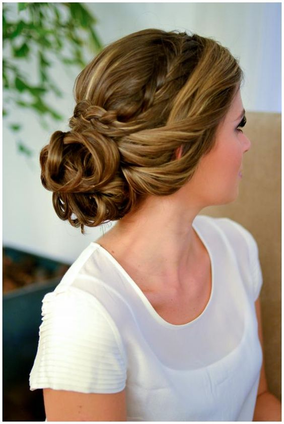 Easy braided bun up-do hairstyl
