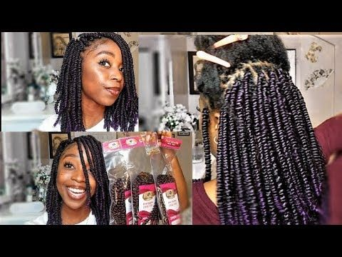 SPRING TWIST HAIR TUTORIAL on Natural Hair | Crochet and Rubber .
