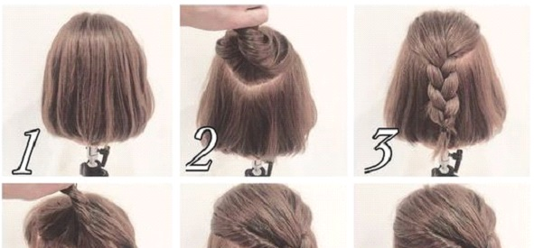 Messy Half up Braid Hairstyle for Short Hair | Makeup Man