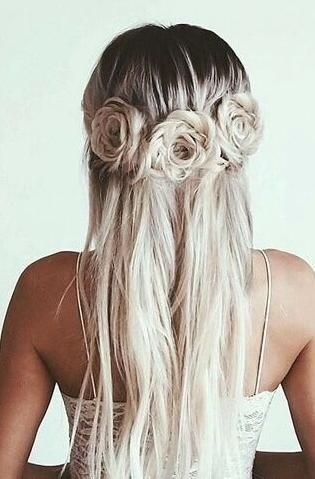 flower hair. … | Hair styles, Long hair styles, Hair inspirati