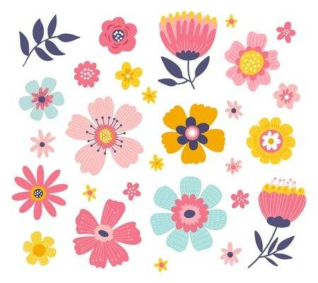 Cute Colorful Set Of Vector Floral Elements. Spring Collection .