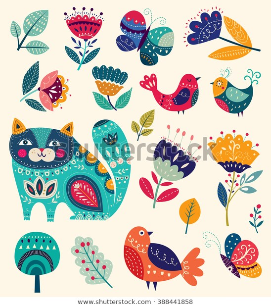 Vector Collection Bright Colors Spring Summer Stock Vector .