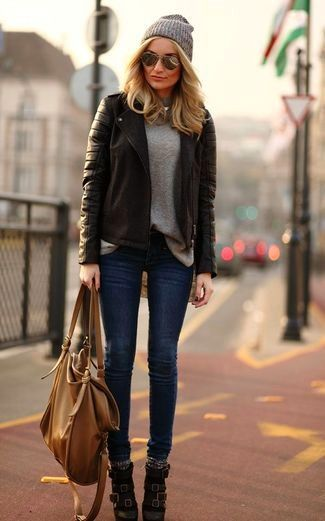 How To Wear Navy Skinny Jeans With a Grey Crew-neck Sweater (61 .