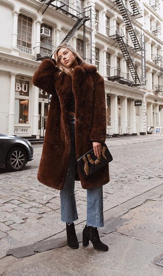 chocolate brown fur coat - casual fall outfit, winter outfit .
