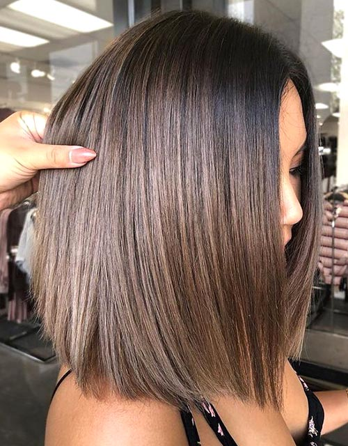 sleek-lob-brunette-hairstyles | Ecemel