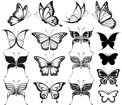 Black And White Butterfly Tattoo Desig