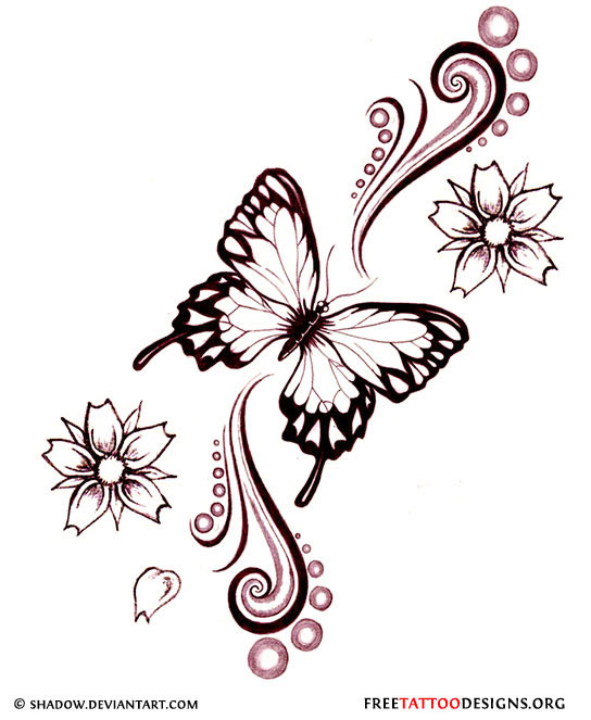 Amazing Flowers And Butterfly Tattoo Desi