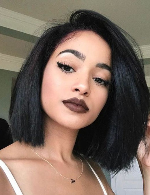 Charming bob hairstyles black stright cute human hair wi