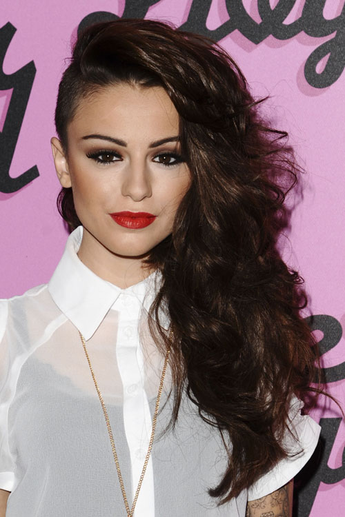Cher Lloyd Wavy Dark Brown Side Part, Undercut Hairstyle | Steal .