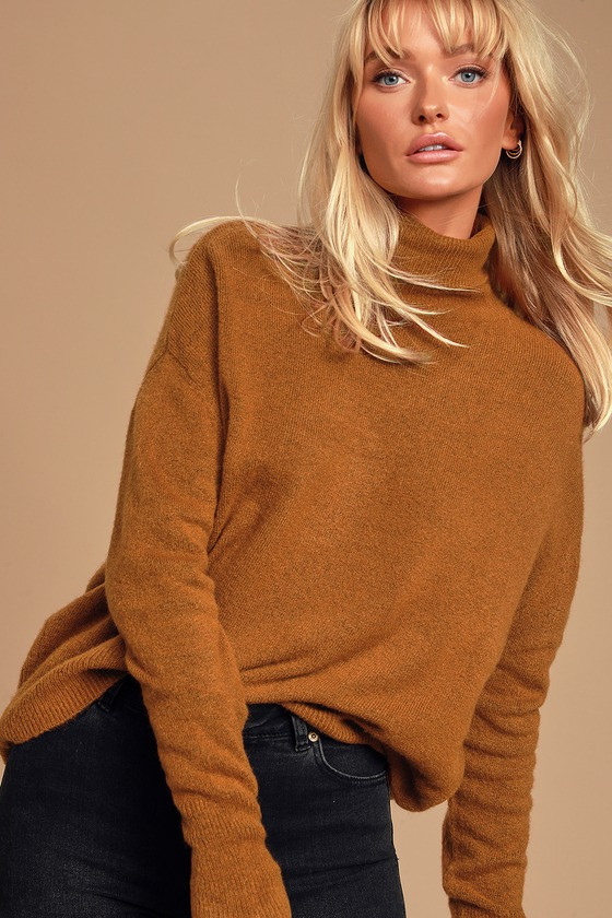 Chic Brown Sweater - Brown Turtleneck Sweater - Soft Knit Sweat