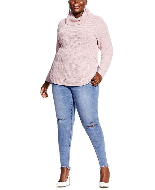 City Chic Trendy Plus Size Curved-Hem Turtleneck Sweater .