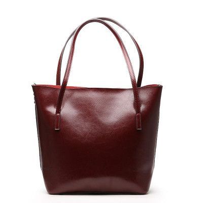 Women's Burgundy Chic Leather Tote Bag Simple Handbags for Work .