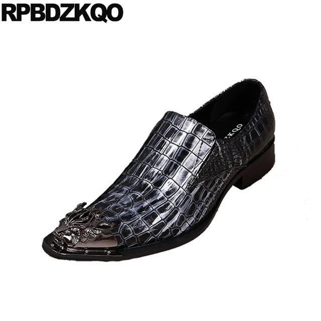 Nice Alligator Men Dress Shoes With Metal Tips Chic High Heel .