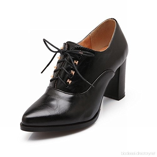 Carol Shoes Retro Women's Lace-up Studded Pointed-toe Chic High .