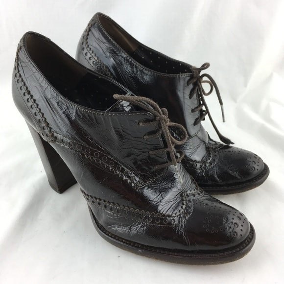 Moschino Shoes | Oxford High Heels Pumps Brown Wingtip Brogues 37 .