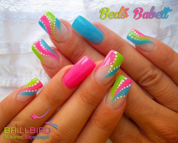 Nail art | Neon nail art, Bright summer nails desig