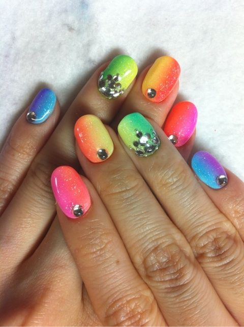 Chic Neon Nail Arts for Everyday | bomb nails | Rainbow nails .