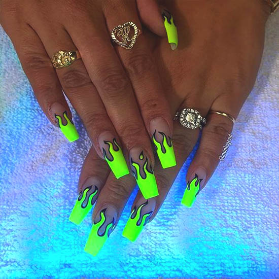 neon-flame-nail-art-design | Ecemel