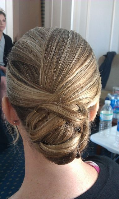Love the layers of hair folded over one another. | Ballroom hair .