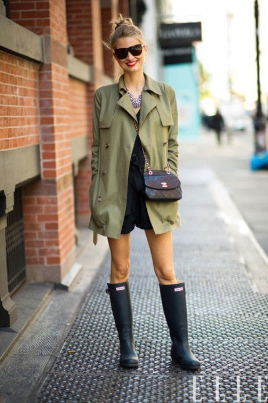 Picture Of chic ways to wear rain boots this fall