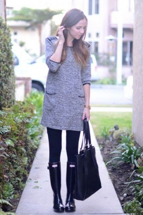 15 Chic Ways To Wear Rain Boots This Fall | Rainboots outfit .