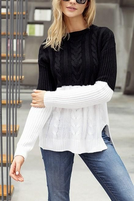 Women Black White Colorblock Cable Knit Sweater | Fashion, Spring .
