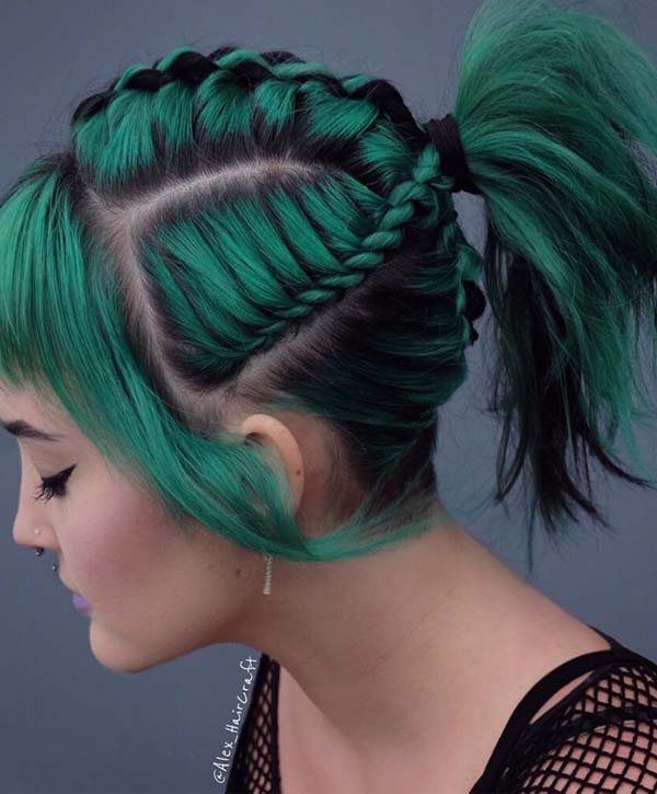 Adorable Green Colored Braided Ponytail Hairstyles for 2019 | Stylez