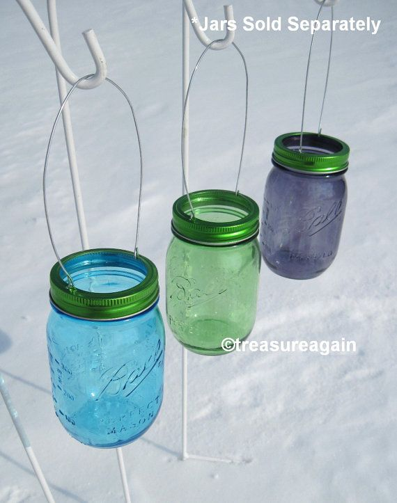Hanging Mason Jar Green Lids DIY Garden Lights by treasureagain .