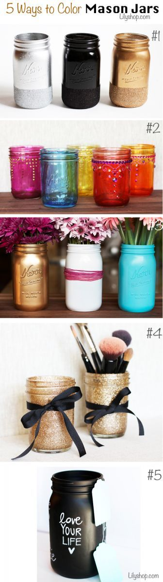 15 Colorful DIY Mason Jars for Spring - Pretty Desig