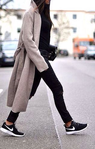 sneakers and long coat is the perfect combination.always | Fashion .
